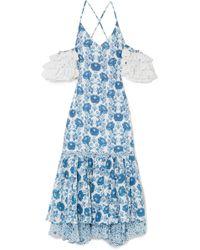 All Things Mochi Natalia Crochet-trimmed Printed Cotton Midi Dress - Blue