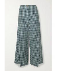 Lanvin Checked Wool-tweed Wide-leg Pants - Blue