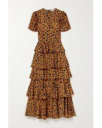 RHODE - Serena Tiered Animal-print Crepe Maxi Dress - Lyst