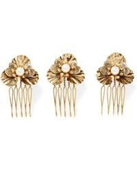 LELET NY - Poppy Petite Set Of Three Gold-plated Faux Pearl Hair Slides - Lyst