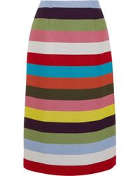 Mary Katrantzou - Sigma Striped Wool-blend Twill Midi Skirt - Lyst