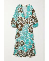 Racil Robe Longue Et Soutien-gorge Triangle À Bonnets Souples En Voile De Coton À Imprimé Fleuri - Vert