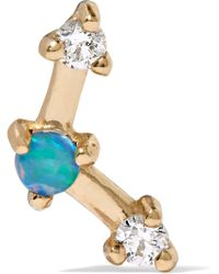 Wwake - Mini Three Step Point Gold, Opal And Diamond Earring - Lyst