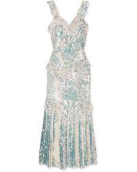 Needle & Thread Scarlett Ruffled Sequined Tulle Gown - Metallic