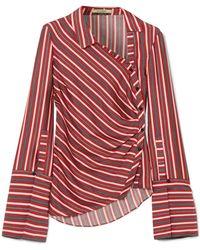 Hellessy - Wyatt Asymmetric Striped Silk And Cotton-blend Blouse - Lyst