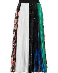 MSGM - Pleated Printed Satin Midi Skirt - Lyst