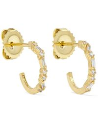 Suzanne Kalan - 18-karat Gold Diamond Hoops Earrings - Lyst