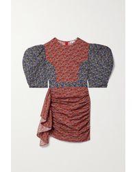 RHODE Pia Draped Patchwork Floral-print Cotton Mini Dress - Red