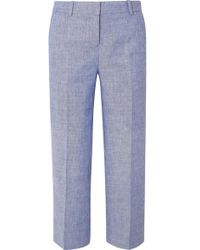 J.Crew Peyton Cropped Linen-blend Straight-leg Trousers - Blue