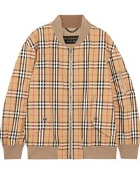 Burberry - Checked Cotton-twill Bomber Jacket - Lyst