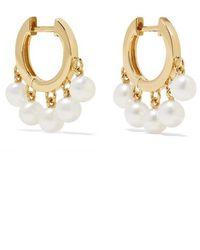 Sydney Evan Huggie 14-karat Gold Pearl Hoop Earrings - Metallic