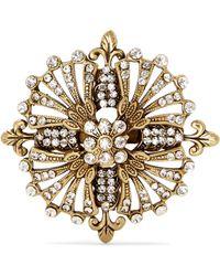 Etro - Goldfarbene Brosche Mit Kristallen - Lyst
