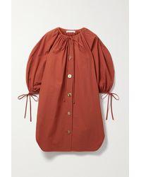 Rejina Pyo Mini-robe En Popeline De Coton À Liens Scout - Rouge