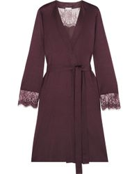 Hanro - Estelle Lace-paneled Modal And Silk-blend Jersey Robe - Lyst