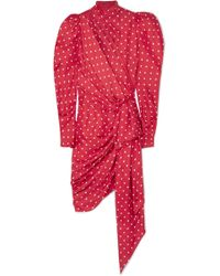 Alexandre Vauthier - Asymmetric Polka-dot Silk-twill Mini Dress - Lyst