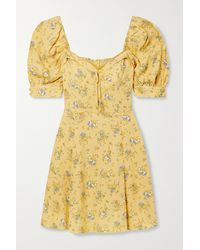 Reformation Lillet Bow-embellished Floral-print Georgette Mini Dress - Yellow