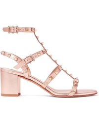 Valentino - Garavani The Rockstud Metallic Textured-leather Sandals - Lyst