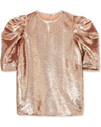 Ulla Johnson - Rae Ruched Sequined Tulle Top - Lyst