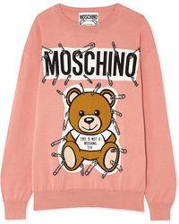 Moschino - Teddy Intarsia Cotton Sweater - Lyst