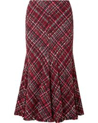 Alexander McQueen - Frayed Tweed Midi Skirt - Lyst