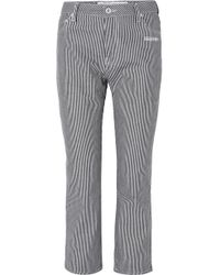 Off-White c/o Virgil Abloh - Cropped Striped High-rise Straight-leg Jeans - Lyst