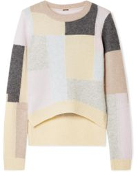Adam Lippes - Color-block Brushed Cashmere And Silk-blend Jumper - Lyst