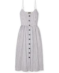 ATM - Striped Cotton And Linen-blend Midi Dress - Lyst