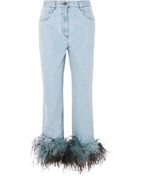 Prada - Feather-trimmed Boyfriend Jeans - Lyst