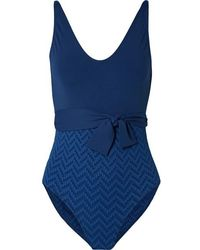 Eres Belted Paneled Seersucker Swimsuit - Blue
