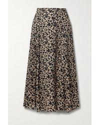 Reformation Net Sustain Zoe Leopard-print Crepe Midi Skirt - Multicolor