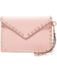 Valentino Garavani The Rockstud Medium Textured-leather Pouch - Pink