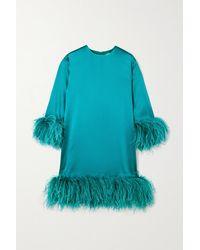 16Arlington Borage Minikleid Aus Satin Mit Federn - Blau