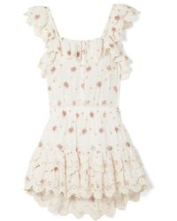 LoveShackFancy Marina Embroidered Floral-print Broderie Anglaise Cotton-voile Mini Dress - Natural