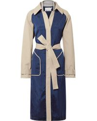 T By Alexander Wang - Cotton-gabardine And Striped Satin-twill Trench Coat - Lyst