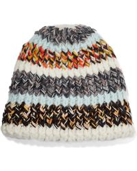 Lyst - Missoni Oversized Striped Chunky-knit Beanie in Gray 49c716a44f3a