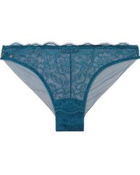 I.D Sarrieri - Le Marais Satin-trimmed Chantilly Lace And Tulle Briefs - Lyst