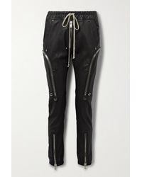 Rick Owens Bauhaus Leather-blend Track Trousers - Black