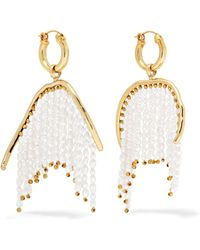 Ellery - Emin Gold-plated Faux Pearl Hoop Earrings - Lyst