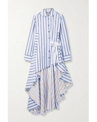 Palmer//Harding Super Asymmetrisches Hemd Aus Gestreifter Baumwollpopeline - Weiß