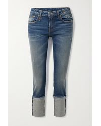 R13 Kate Cropped Distressed Low-rise Skinny Jeans - Blue