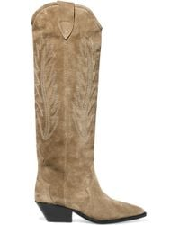 3349a450311 Isabel Marant - Denzy Embroidered Suede Knee Boots - Lyst