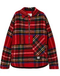 we11done Asymmetric Tartan Shetland Wool Shirt - Red