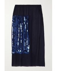 Dries Van Noten Syrine Sequin-embellished Chiffon Midi Skirt - Blue