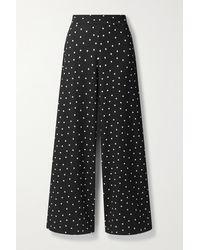 Alice + Olivia Athena Polka-dot Crepe Wide-leg Trousers - Black