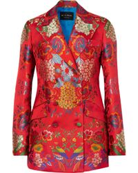 Etro - Double-breasted Floral Satin-jacquard Blazer - Lyst