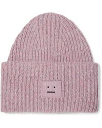 Acne Studios Pansy Appliquéd Ribbed Wool-blend Beanie - Pink
