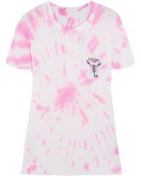The Elder Statesman - Printed Tie-dye Silk And Cashmere-blend T-shirt - Lyst