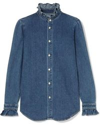 Eve Denim Violet Ruffled Denim Shirt - Blue