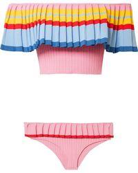 Tabula Rasa Pleated Draped Color-block Knitted Bikini Pastel Pink