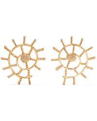 Oscar de la Renta - Gold-plated Crystal Earrings - Lyst